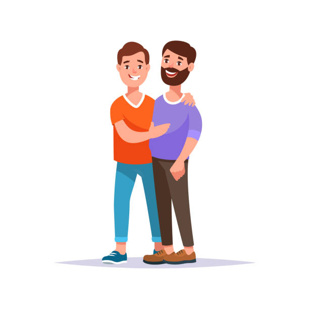 illustrazioni stock, clip art, cartoni animati e icone di tendenza di happy gay couple - coppia gay
