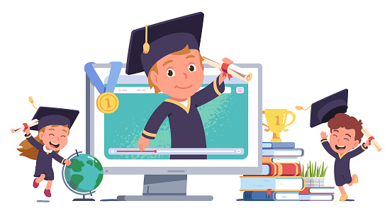 Happy girl, boy kids celebrating online education graduation. Graduate student person in graduation cap hold diploma scroll on computer screen. Distance education concept flat vector illustration