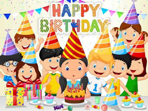 Happy girl cartoon blowing birthday candles with his friends Vector illustration of Happy girl cartoon blowing birthday candles with his friends  happy birthday stock illustrations
