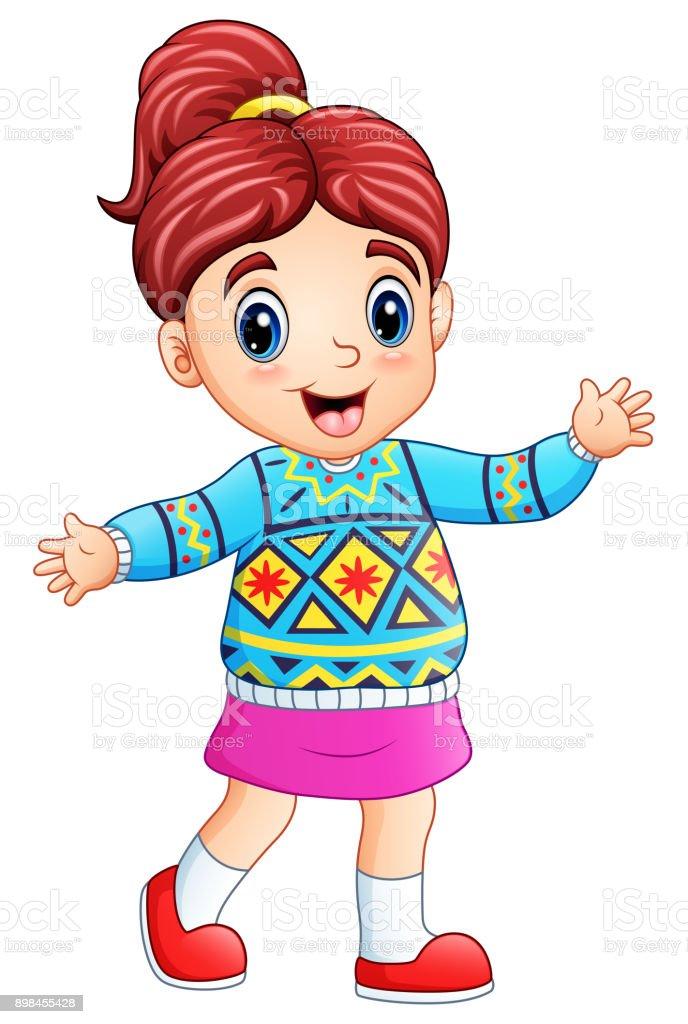Ilustración de Dibujos Animados Chica Feliz Usando Suéter De Navidad ...