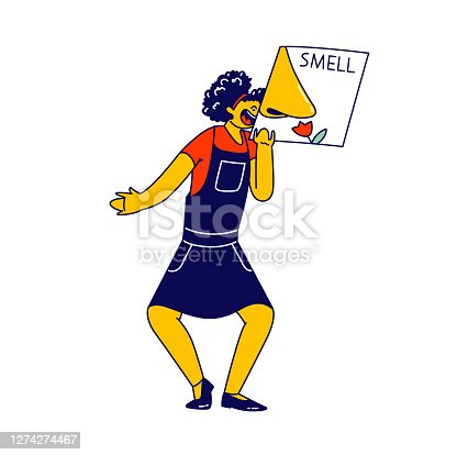 istock Happy Girl Character Holding Card with Smelling Nose Isolated on White Background. Smell One of Five Human Perceptions 1274274467