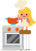 Happy Girl Cook Soup Mother Helper Little Independant Housewife Symbol