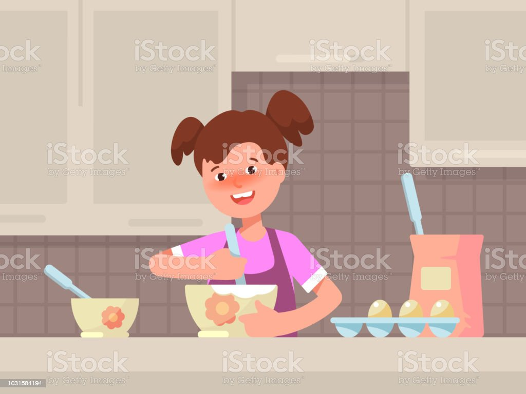 Fille heureuse, cuisson des aliments dans la cuisine. - Illustration vectorielle