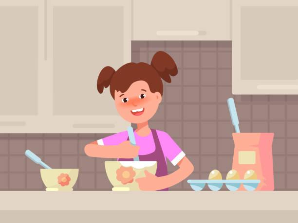Glückliches Mädchen Kochen in der Küche. – Vektorgrafik