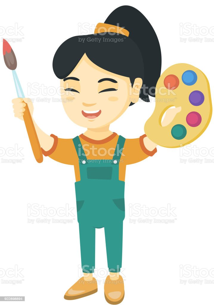 Happy girl drawing with colorful paints and brush vector art illustration