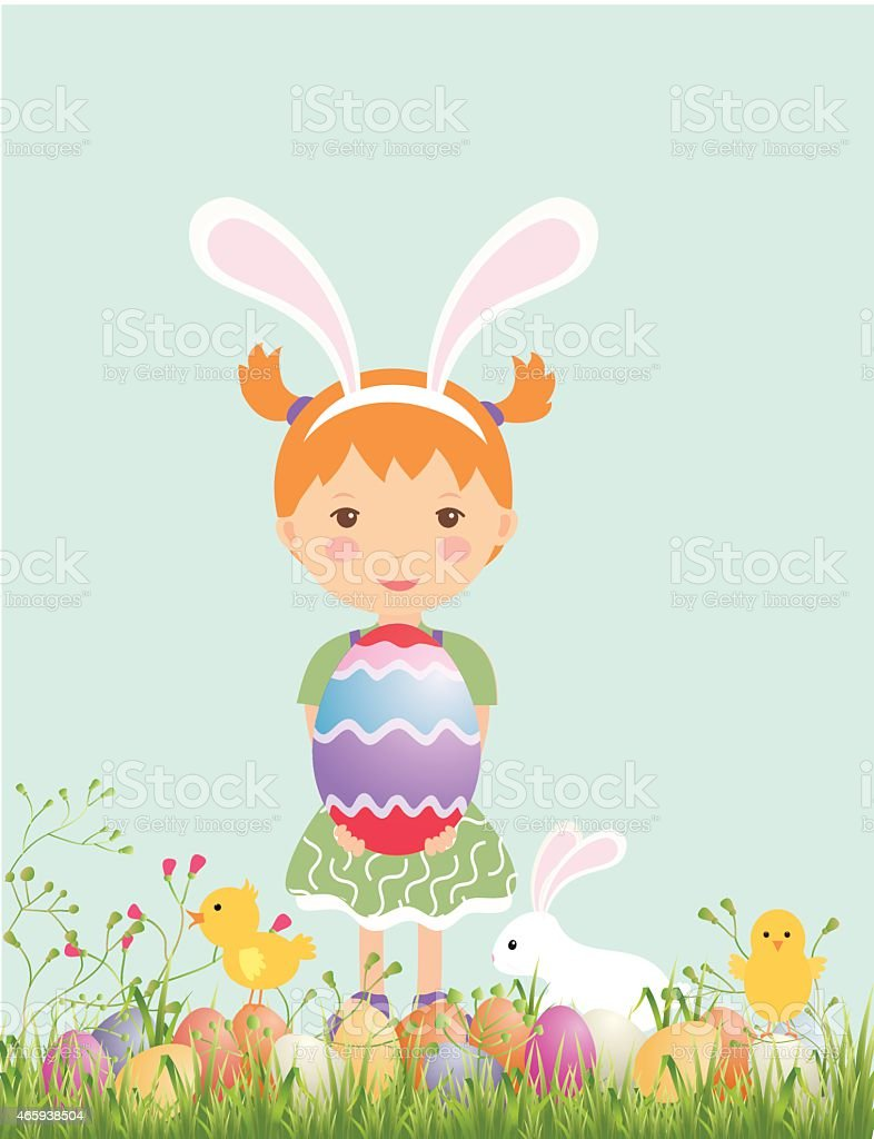 happy easter egg hunt kids party illustration stock vector