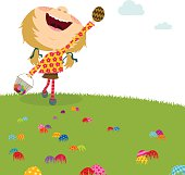 Happy girl. Easter egg hunt. Kids party