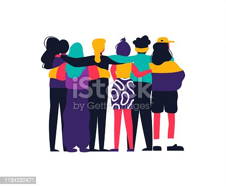 Happy girl friend group hug on isolated background