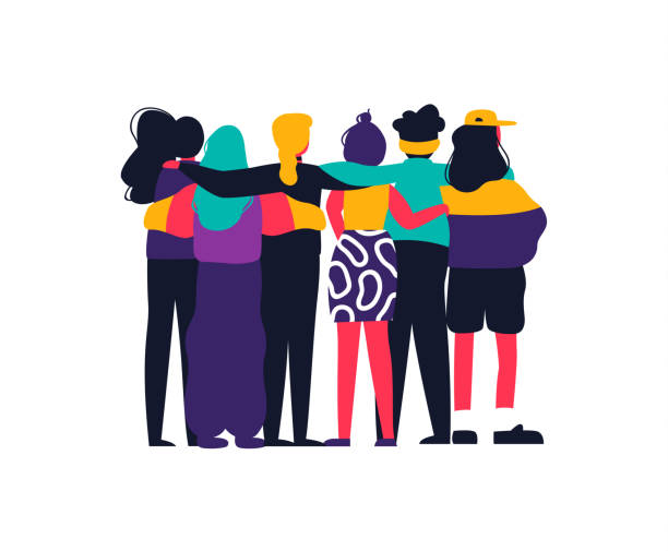Happy girl friend group hug on isolated background Diverse women friend group hugging together for feminist concept or womens right event. Modern young woman dressed in trendy urban fashion. Female team hug on isolated background with copy space. millennial generation stock illustrations