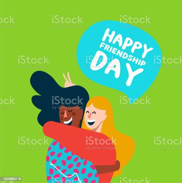 행복 한 여자 친구 우정 날 카드 포옹 공휴일에 대한 스톡 벡터 아트 및 기타 이미지