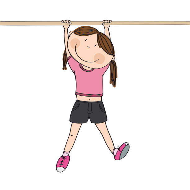 happy girl hanging on a gymnastics bar or a monkey bar in the gym or on the playground - original hand drawn illustration - monkey bars stock illustrations, clip art, cartoons, & icons
