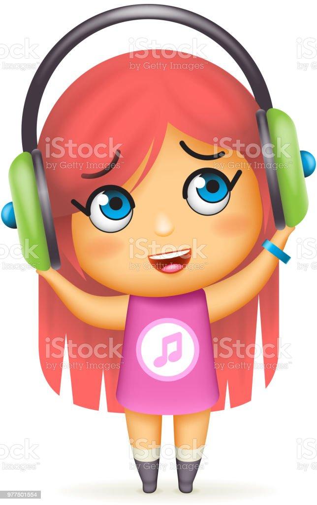 Casque Fille Heureuse Ecoute Musique Isolé Dessin Animé 3d Design
