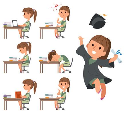 Happy Girl Her Graduation Day. School days