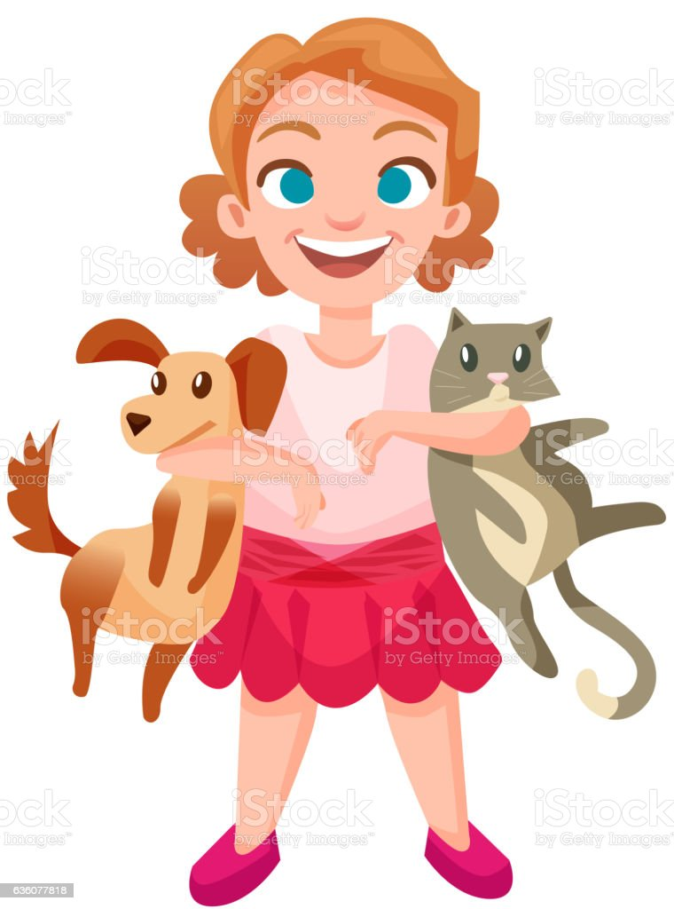 Happy girl holding dog and cat at sides. Isolated children vector...