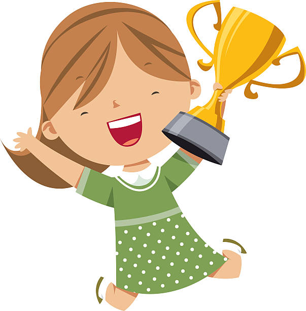 Happy Girl Holding Gold Trophy Vector Art Illustration