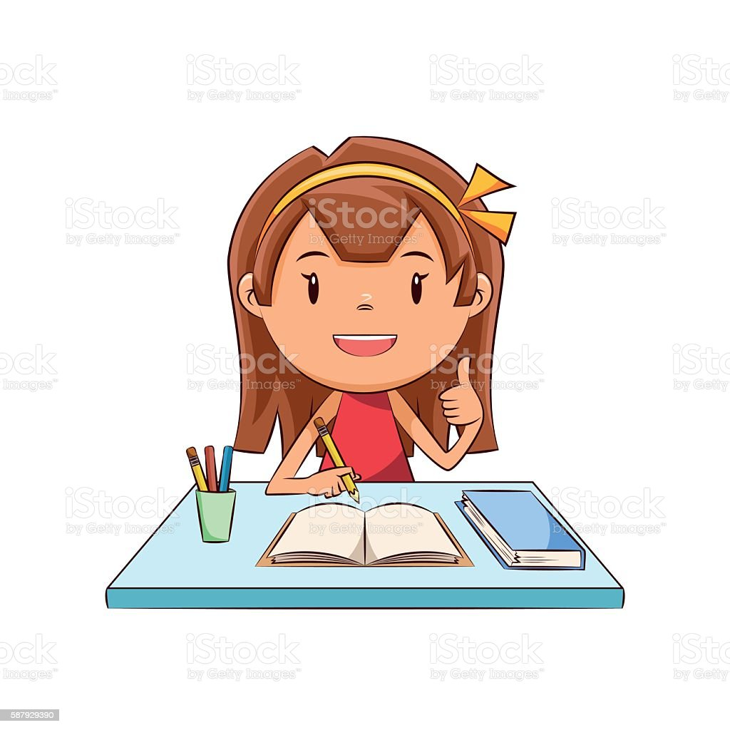 Happy girl homework vector art illustration