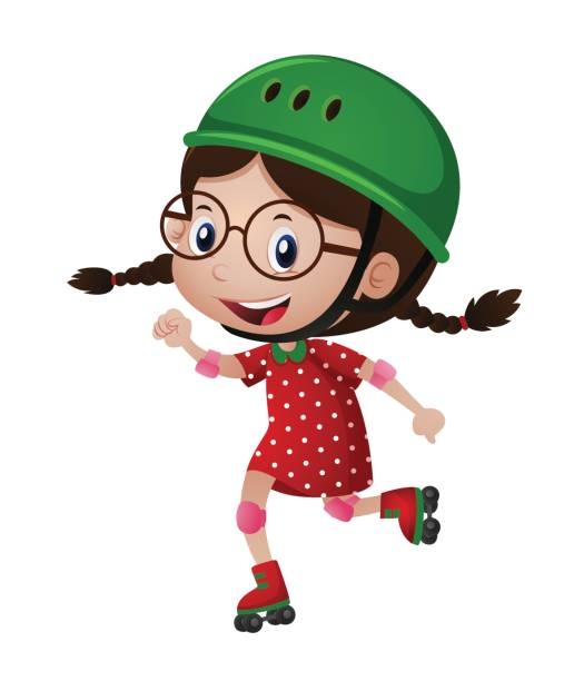 glückliches mädchen im grünen helm rollerskating - rollschuh stock-grafiken, -clipart, -cartoons und -symbole
