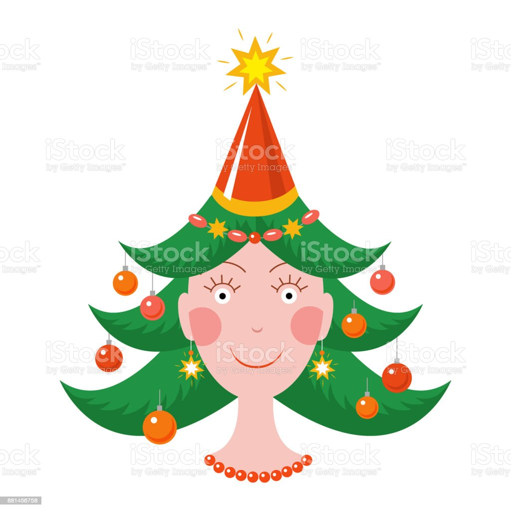 Happy girl in new year mood with a Christmas tree haircut royalty-free happy girl in new year mood with a christmas tree haircut stock vector art & more images of adult