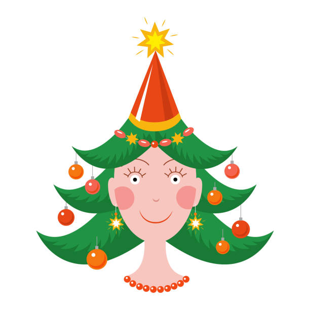Happy girl in new year mood with a Christmas tree haircut vector art illustration