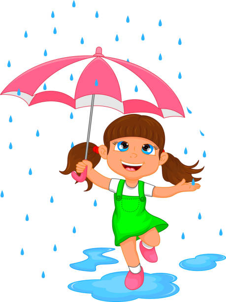 happy girl in rain with umbrella - kids playing in rain stock illustrations, clip art, cartoons, & icons