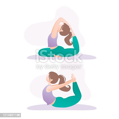 Happy girl in yoga poses. Two hatha yoga asanas. Simple female character. Fitness and health care concept. Flat trendy style vector illustration
