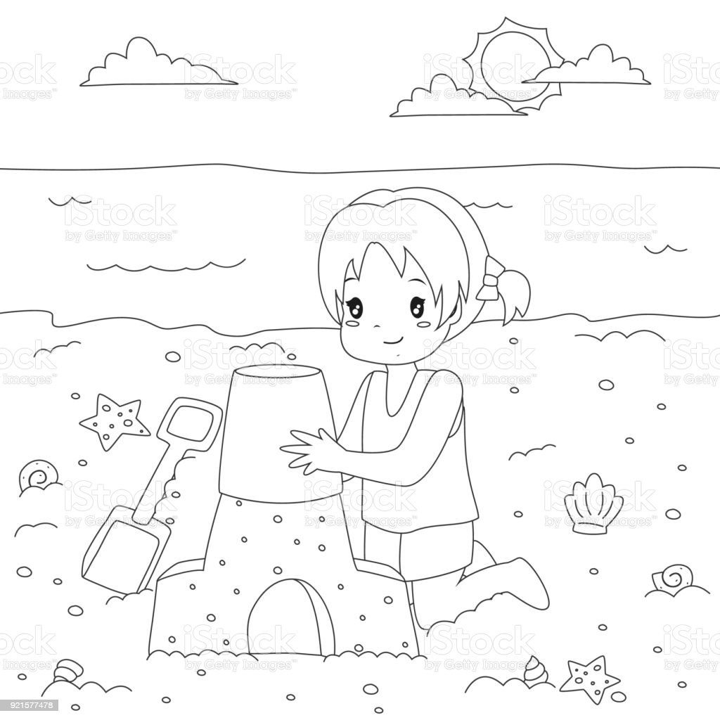 Happy Girl Making A Sand Castle Coloring Page Cartoon Vector Stock ...