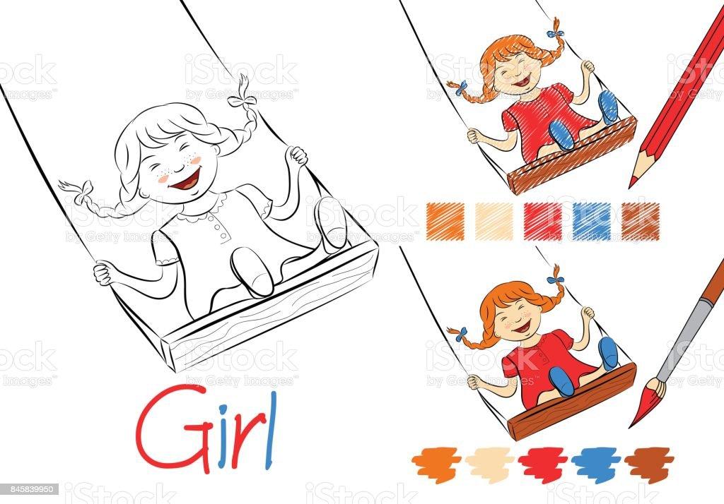 Mutlu Kız Bir Salıncak Siyah Beyaz Vektör çizim çocuklar Ve