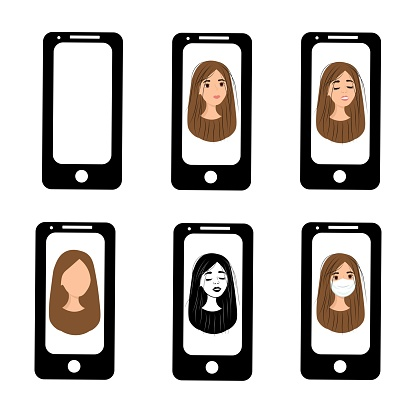 Happy girl on the phone screen. Emotions of a woman on the screensaver of a smartphone. Remote communication using gadgets. Stock vector illustration for business, internet, social networks.