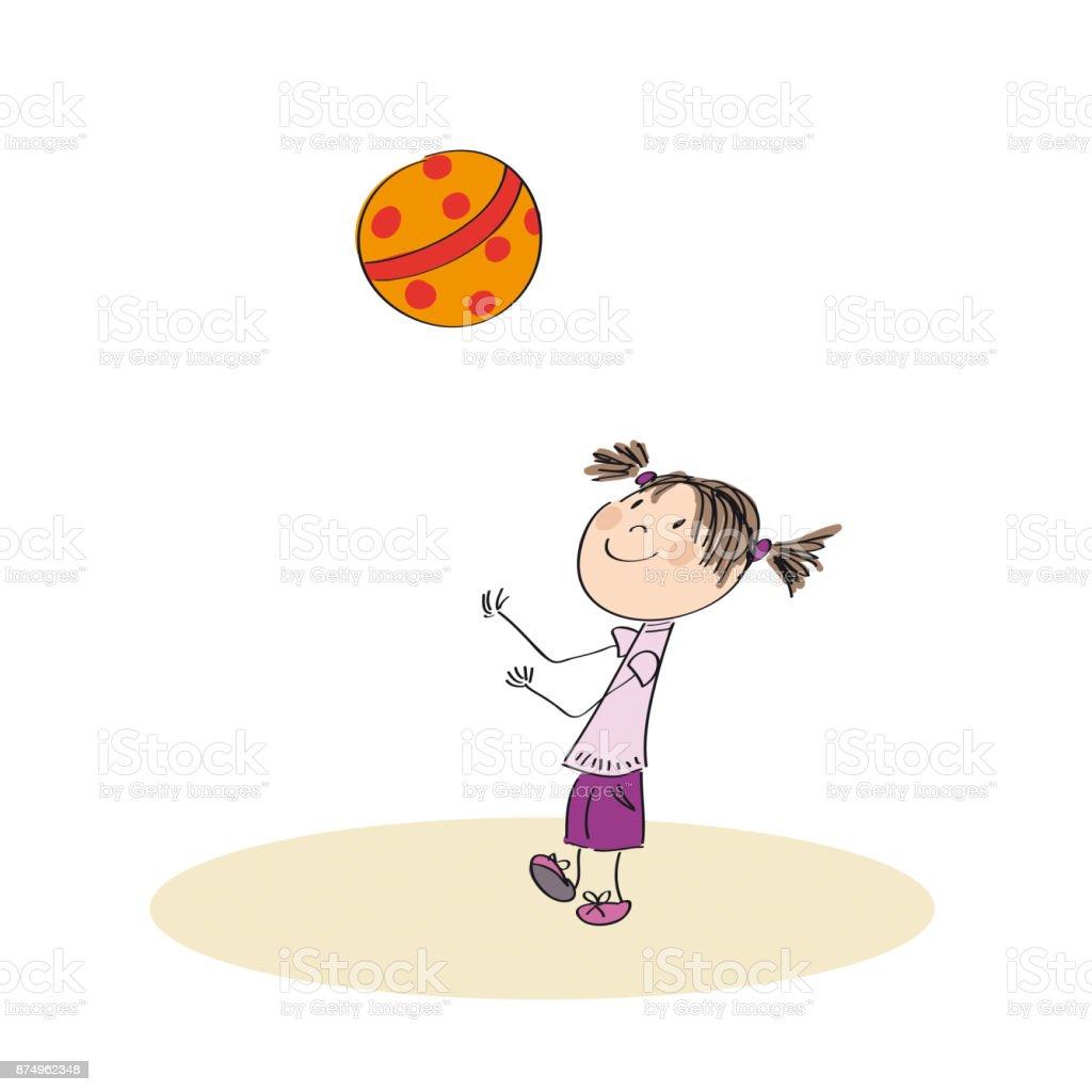 Happy girl playing with ball - original hand drawn illustration vector art illustration