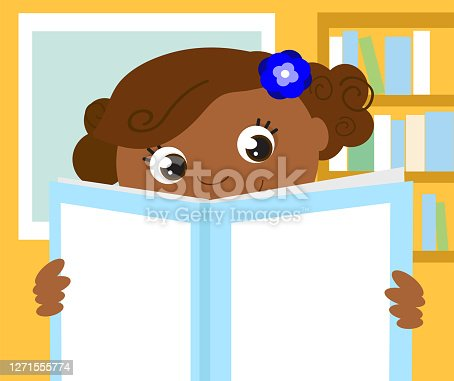 Happy girl reads a blank book, vector illustration
