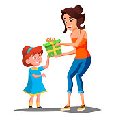 Happy Girl Receives Gifts From Parents Vector. Illustration