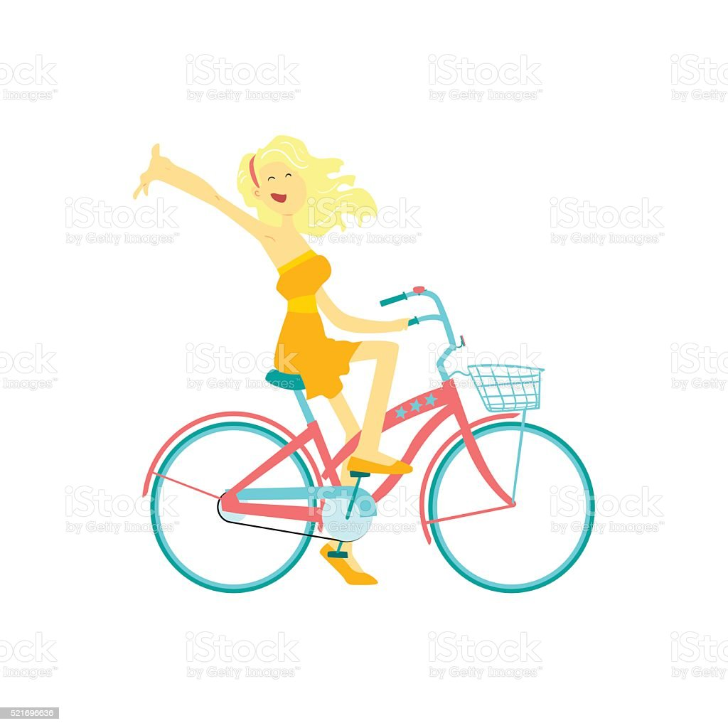 Happy Girl Riding Bicycle vector art illustration