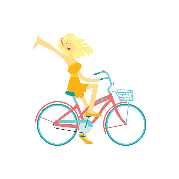 Feliz Chica montando bicicleta - ilustración de arte vectorial