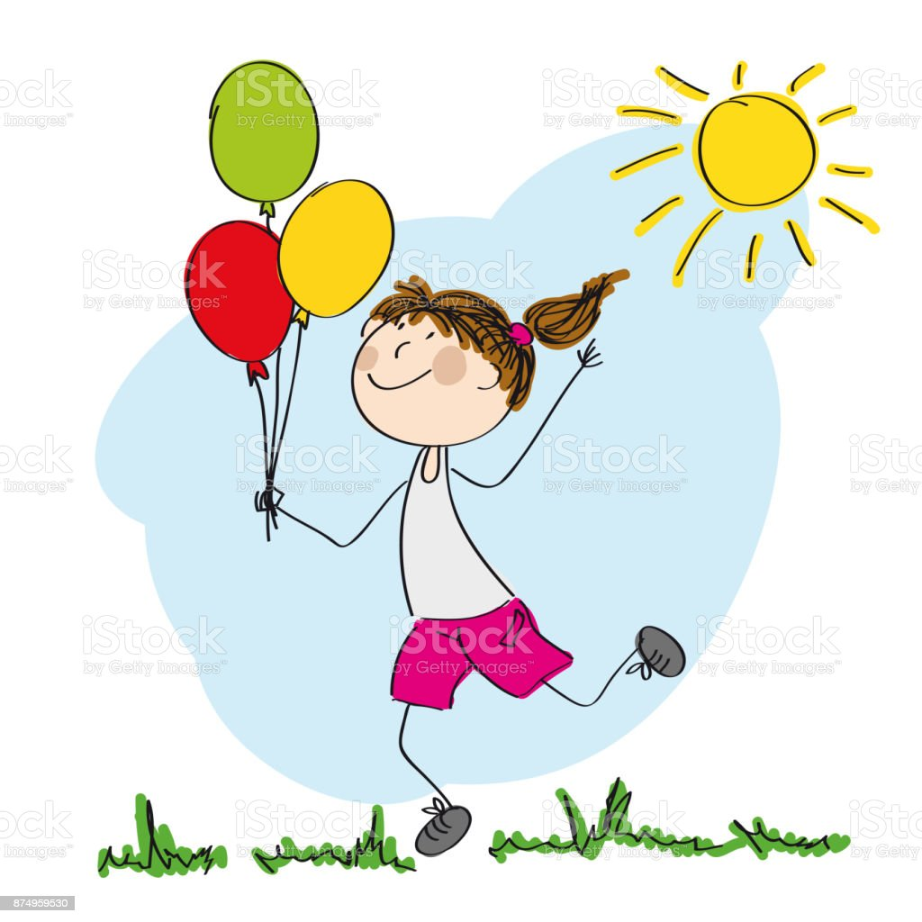 Happy girl running and holding colorful balloons in her hand  - original hand drawn illustration vector art illustration