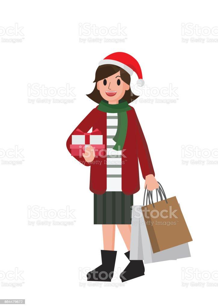 Glückliches Mädchen Weihnachtsgeschenke Einkaufen ...
