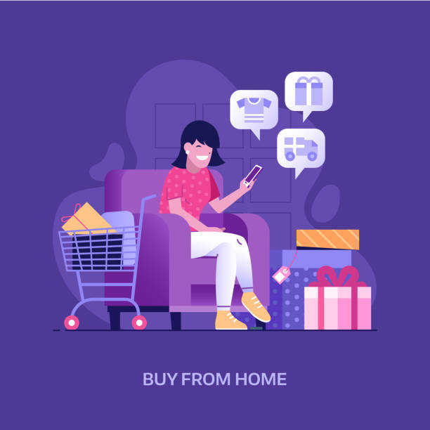 Happy Girl Shopping Online at Home vector art illustration