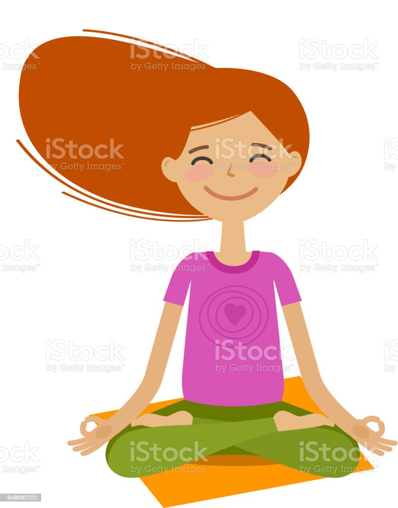 Heureuse Jeune Fille Assise Dans La Posture Du Lotus Yoga Concept De
