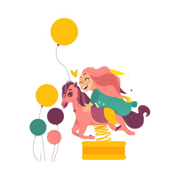 stockillustraties, clipart, cartoons en iconen met gelukkig meisje zittend op vorm spring ruiter - mini amusementpark