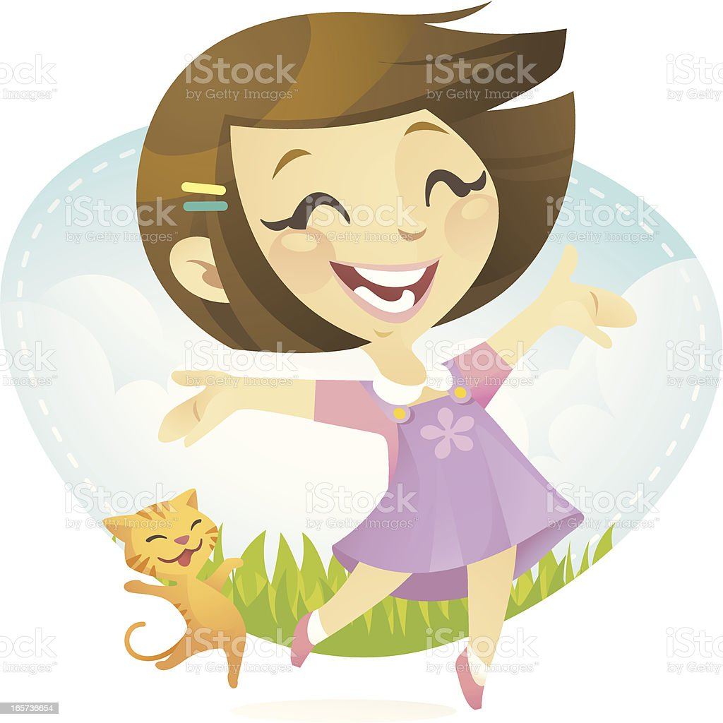 Happy Girl vector art illustration