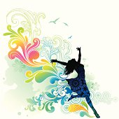 Silhouette of happy girl with flowing scrolls and watercolor background. Only gradient  used. Layered, global colors. Hi res jpeg included.See more works of mine linked below.