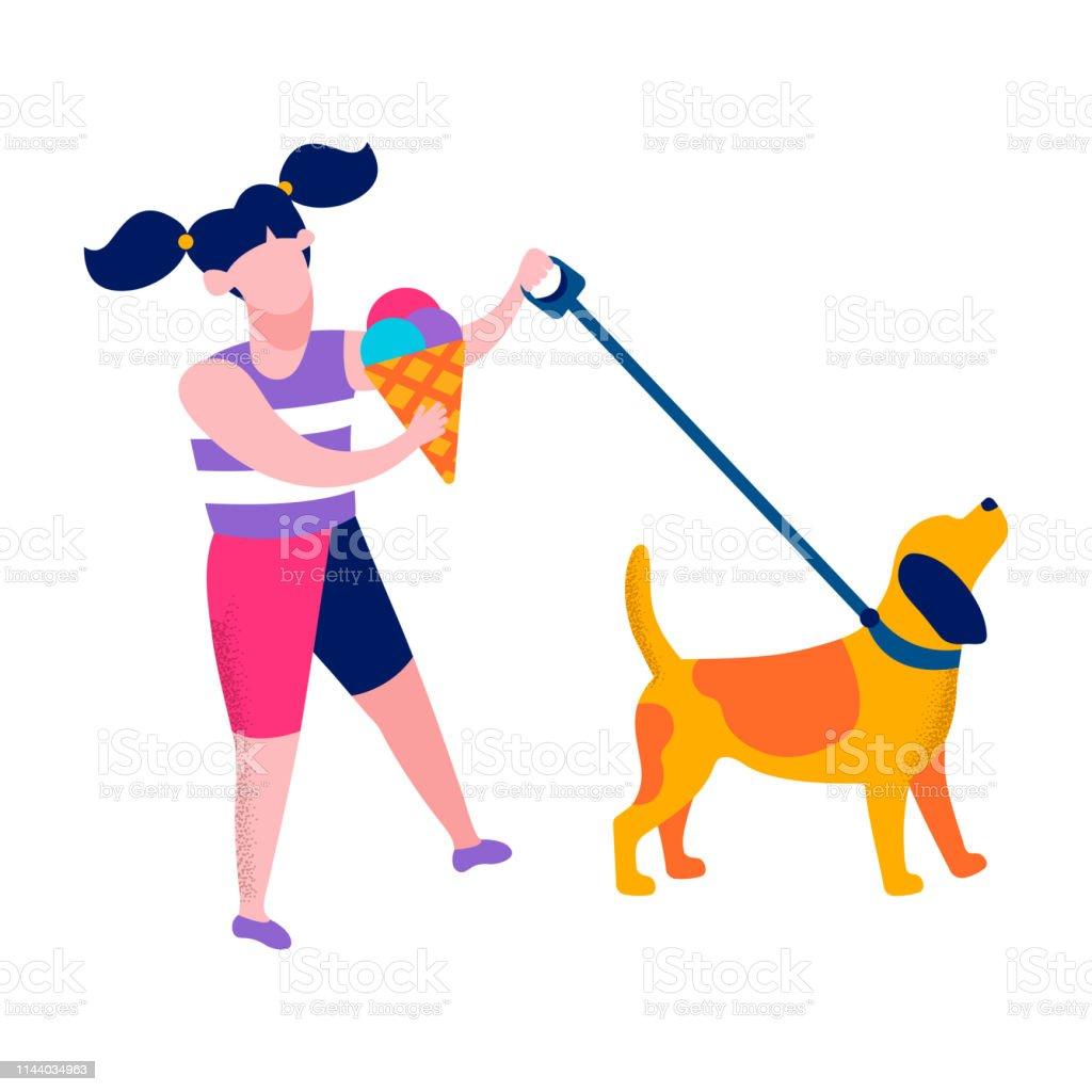 Ilustración De Chica Feliz Caminar Perro Motivacional Banner