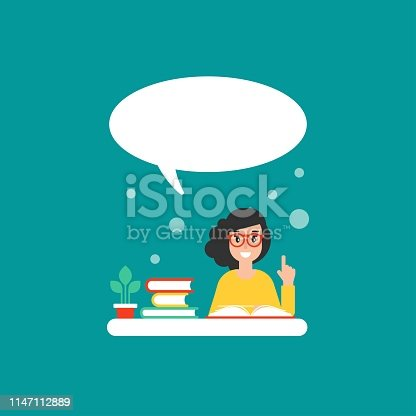 happy girl with books and speech bubble. creative teacher. giving advice . flat vector illustration on blue background. Hints and tints. Questions and answers.