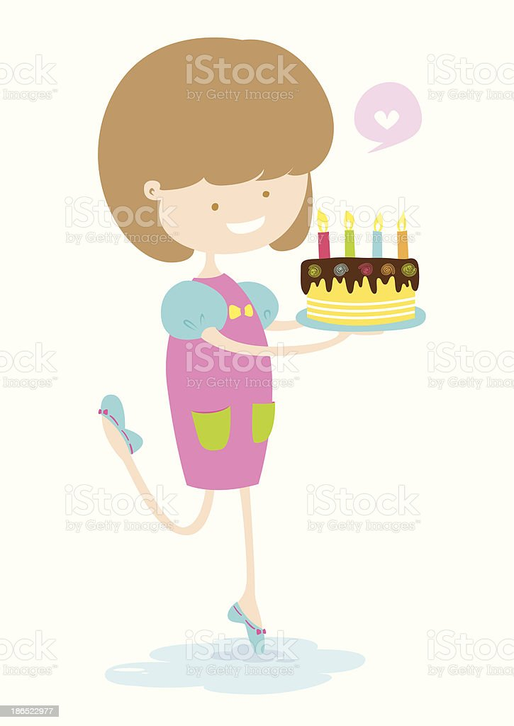 Happy Girl With Delicious Cake. royalty-free happy girl with delicious cake stock vector art & more images of adult