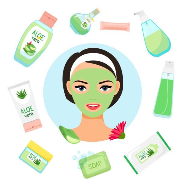 happy girl with facial mask. organic cosmetics vector illustration - aloe vera stock illustrations