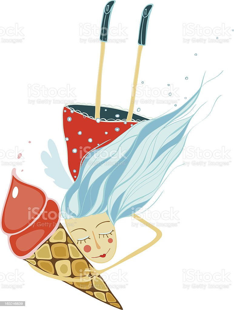 Happy Girl with Ice Cream royalty-free stock vector art