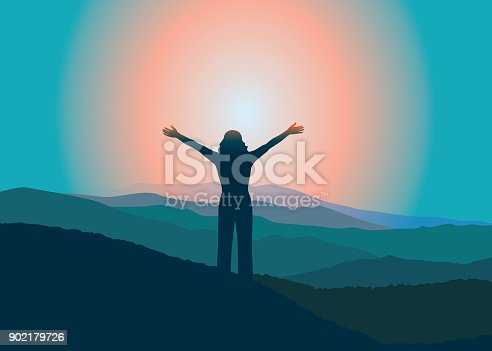 Woman with hands up on the top of mountain. Vector illustration. Blue Ridge Mountains, North Carolina, USA.
