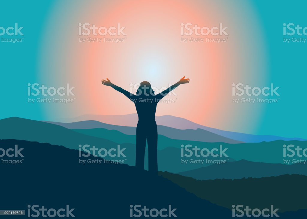 Happy girl with raised hans  on the top of mountain. vector art illustration