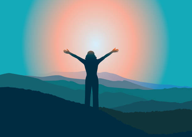 Happy girl with raised hans  on the top of mountain. Woman with hands up on the top of mountain. Vector illustration. Blue Ridge Mountains, North Carolina, USA. motivation stock illustrations
