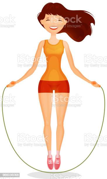 Gelukkig Meisje Met Springtouw Fitness Sport Concept Cartoon Vectorillustratie Stockvectorkunst en meer beelden van Aerobics