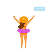 happy girl, young woman on beach vacation, standing backside with inflatable float, isolated vector illustration